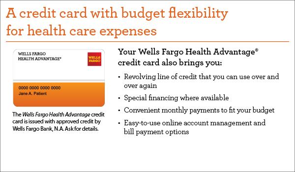 Wells Fargo Health Advantage credit card advertisement
